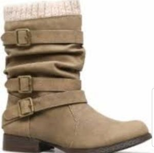 JustFab Shoes - Nafise slouchy bootie w/sweater cuff. 10M